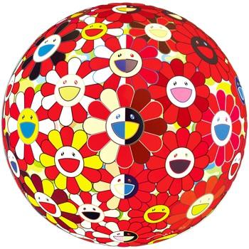 flowerball red 2d the magic flute by takashi murakami