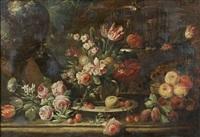 composition de fleurs et fruits sur un entablement de pierre by abraham brueghel