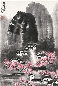蜀山春雨 镜心 设色纸本 (spring rain of sichuan) by li keran