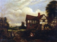 figures before a cottage by edward robert smythe