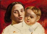 the artist's sister and her child (study) by william holman hunt