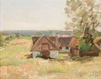 danish landscape with houses by julius paulsen