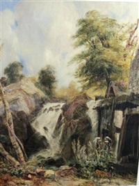 a child on a river bank by a mill, a waterfall beyond (penmachno, north wales?) by samuel austin