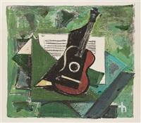 grünes stilleben mit gitarre by joachim heuer