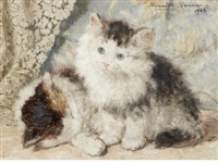 two kittens by henriette ronner-knip