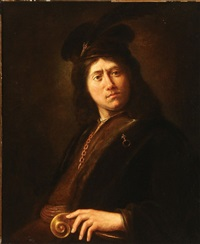 young man wearing a gold chain and feather cap by jan victors
