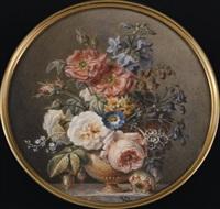 vase de marbre, roses blanches et roses auriculae, mina lobata, narcisses, pivoines, sur un entablement de marbre veiné gris by jan frans van dael
