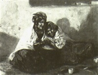 ouled nails sur la terrasse à bou-saada by alphonse léon germain-thill