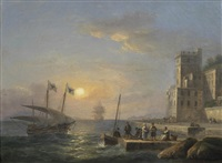 a mediterranean xebec flying messina flags and shortening sail as she approaches the quayside at her home port, with a view of the straits of messina beyond by thomas luny