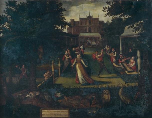 réjouissances villageoises dans le parc dun palais classique by lucas van valkenborch