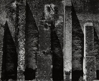 buttressed wall, church, alcoman, mexico by aaron siskind