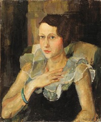 portrait de femme au col blanc by reynold arnould