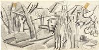 paesaggio con figura e cavalli by mario sironi