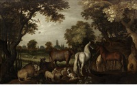 horses, cattle, sheep and goats beneath trees in the foreground, a view of utrecht in the distance by roelandt savery