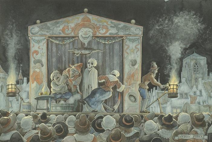17th century fair by night by anton pieck