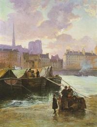 soleil couchant : bateaux à quai devant notre-dame by gaston cornil