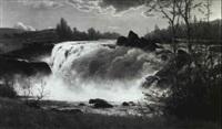 waterfall by constant auguste de l' aubiniere