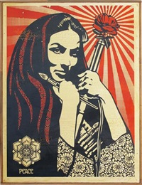 revolutionary woman with brush by shepard fairey