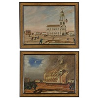 the burning of old south church in bath, maine (pair) by john hilling