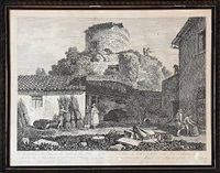 via appia illustrata ab urbe roma at capuam (9 works) by carlo labruzzi