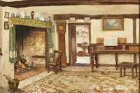 interior of an old cottage by william affleck