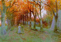 la promenade dans la grande allée, en automne by charles de meixmoron de dombasle