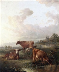 cattle grazing in landscape with windmill to distance by edward robert smythe