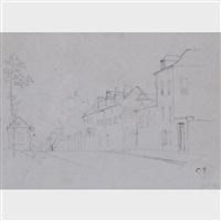 le rue du village by camille pissarro