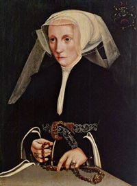 portrait of a lady holding a rosary by bartholomäus (barthel) bruyn the younger