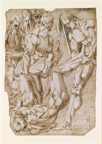 männliche akt (+ kopf eines jungen mannes, verso; 2 studies) by andrea boscoli