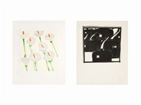 group of 2 lithographs by donald sultan