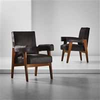 pair of 'advocate and press' armchairs, model no. lc/pj-si-41-a, designed for the high court, chandigarh by pierre jeanneret