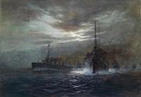 nächtliches konvoi, k. u. k. flotte im mondschein (kreuzer der admiral spaun klasse?) by august von ramberg