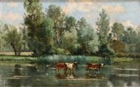 troupeau à l'abreuvoir by léon barillot