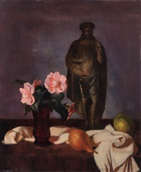 still life with rose and sculpture of christ by wilhelm lachnit