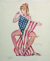 pin-up au drapeau américain by bernard charoy