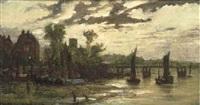 cheyne walk and chelsea old church by battersea old bridge by cecil gordon lawson