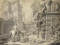 caprice architectural avec un cavalier abreuvant son cheval à une fontaine by gilles-marie oppenort