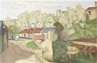 landscape with canal, lock and bridge (recto); dockyard scene (verso) by john nash