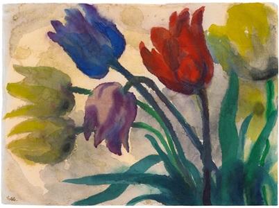 tulpen rot blau violett und gelb by emil nolde