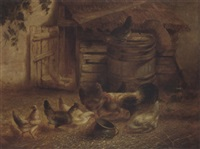 chickens feeding by a coop by w. richards