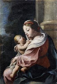 la vierge à l'enfant devant une colonne by simon vouet