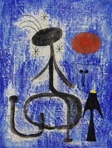 femme et oiseau devant la nuit by joan miró