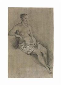 a seated female nude by adriaen van de velde