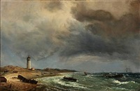 fishermen on skagen beach with det hvide fyr (the white lighthouse) in the background by daniel hermann anton melbye