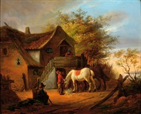 a white horse and several figures by a farm by eugène françois de block
