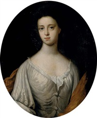 portrait of constant wall in a white dress and golden shawl by william aikman