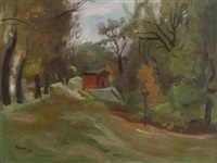 landscape with red house by ernst paar