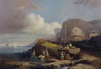 pêcheurs sur la grève by léonard saurfelt