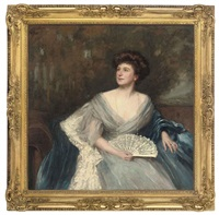 portrait of mrs james herbert wild (née sarah alice nesbit rhodes of glossop), in a light blue dress and dark blue wrap, holding a fan by maud hall (rutherford) neale